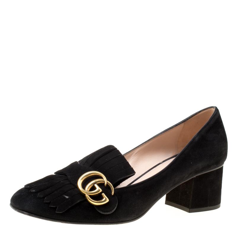 Buy Gucci Black Suede Fringe Marmont Loafer Pumps Size 39 5 174310