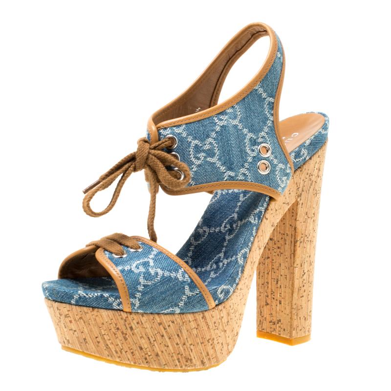 e96d81a15 Buy Gucci Blue Monogram Denim Cork Platform Sandals Size 38.5 174589 ...