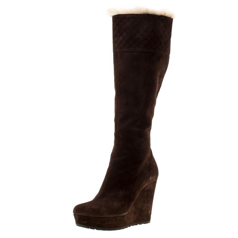 4f423dee874 Buy Gucci Brown Suede Courteney Platform Wedge Boots Size 36.5 ...