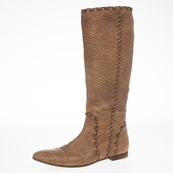 a527469d93a Gucci Brown Woven Whipstitched Leather 'Janis' Flat Boots Size 39.5