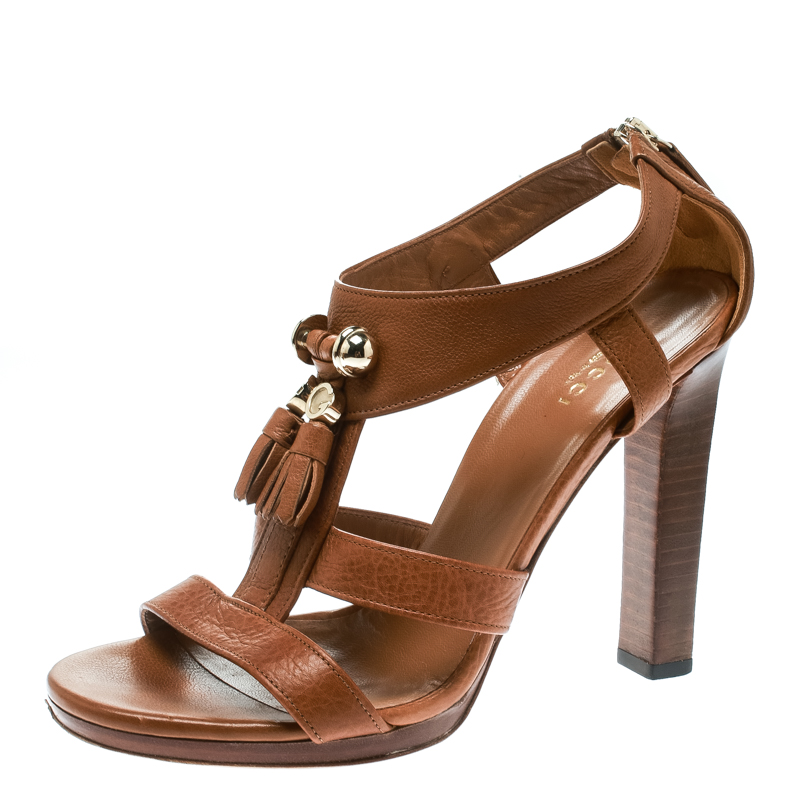 Gucci Brown Pebbled Leather Marrakech Open-Toe Block Heel Sandals Size 37