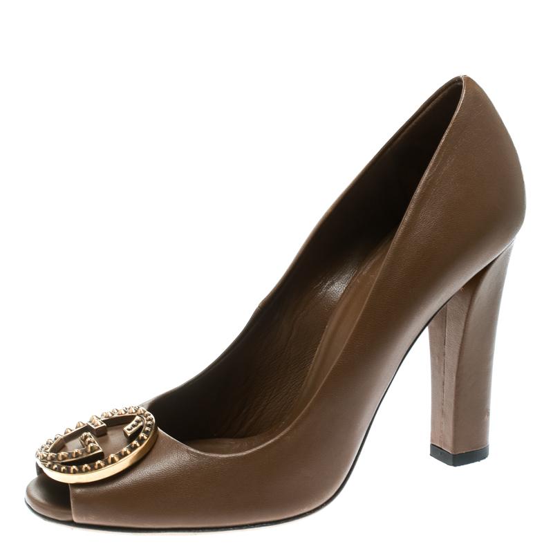 bca589f85a3 ... Gucci Brown Leather Studded GG Block Heel Peep Toe Pumps Size 36.5.  nextprev. prevnext