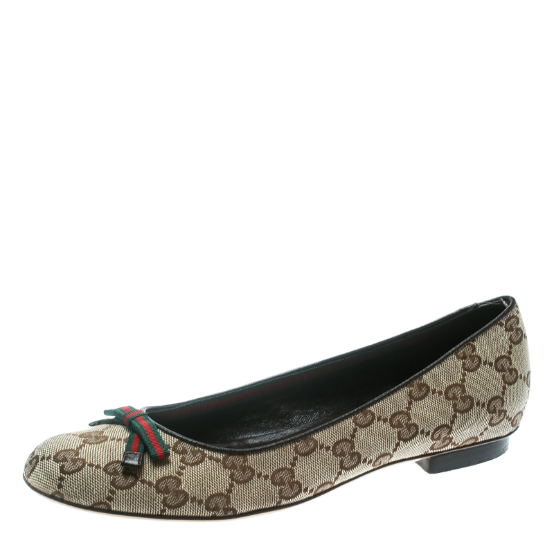 fc827532e Buy Gucci Beige GG Canvas Web Bow Ballet Flats Size 37.5 178707 at ...