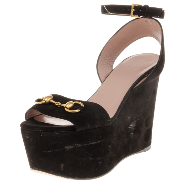 9836a225521 Buy Gucci Black Suede Horsebit Platform Ankle Strap Wedges Size 37 17989 at  best price