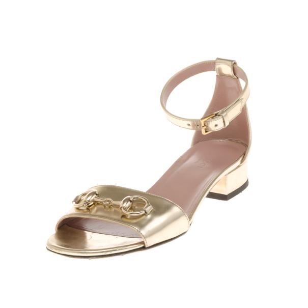 74d885a0b9f Buy Gucci Gold Horsebit Detail Ankle Strap Sandals Size 36.5 17990 ...