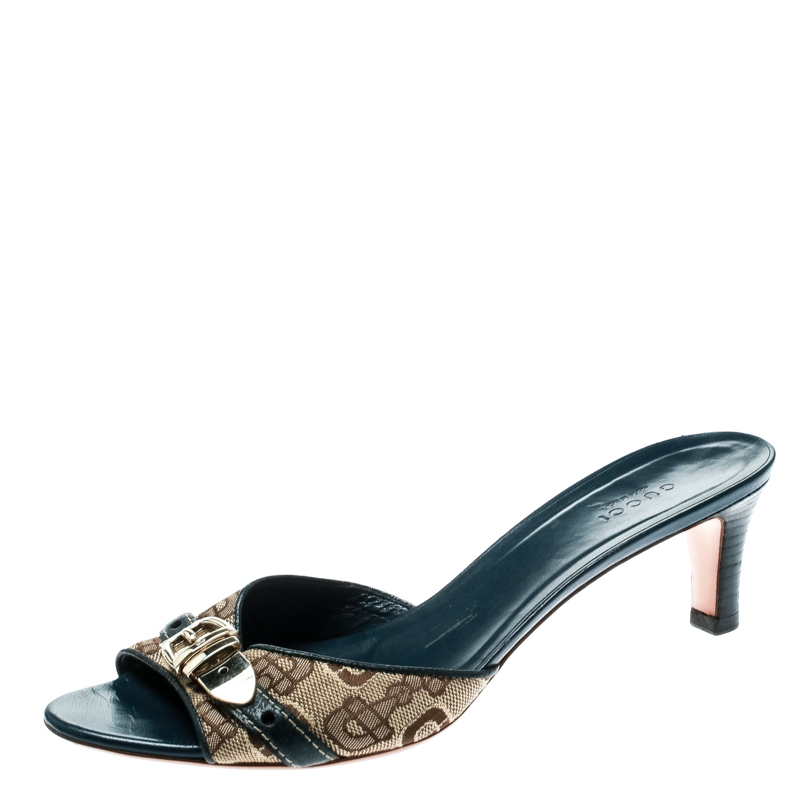 1bf2af483c1 ... Gucci Beige Printed Canvas With Blue Leather Buckle Detail Peep Toe  Slides Size 38.5. nextprev. prevnext