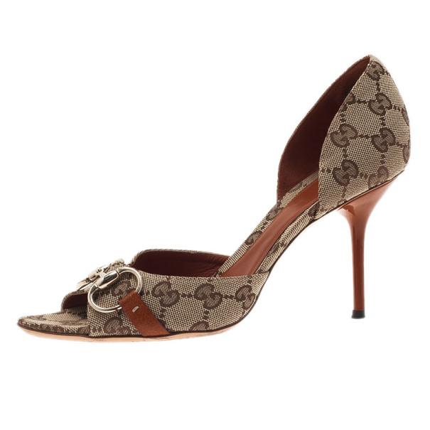 1c9804643 Buy Gucci GG Canvas Hollywood Horsebit D'orsay Pumps Size 38 18210 ...