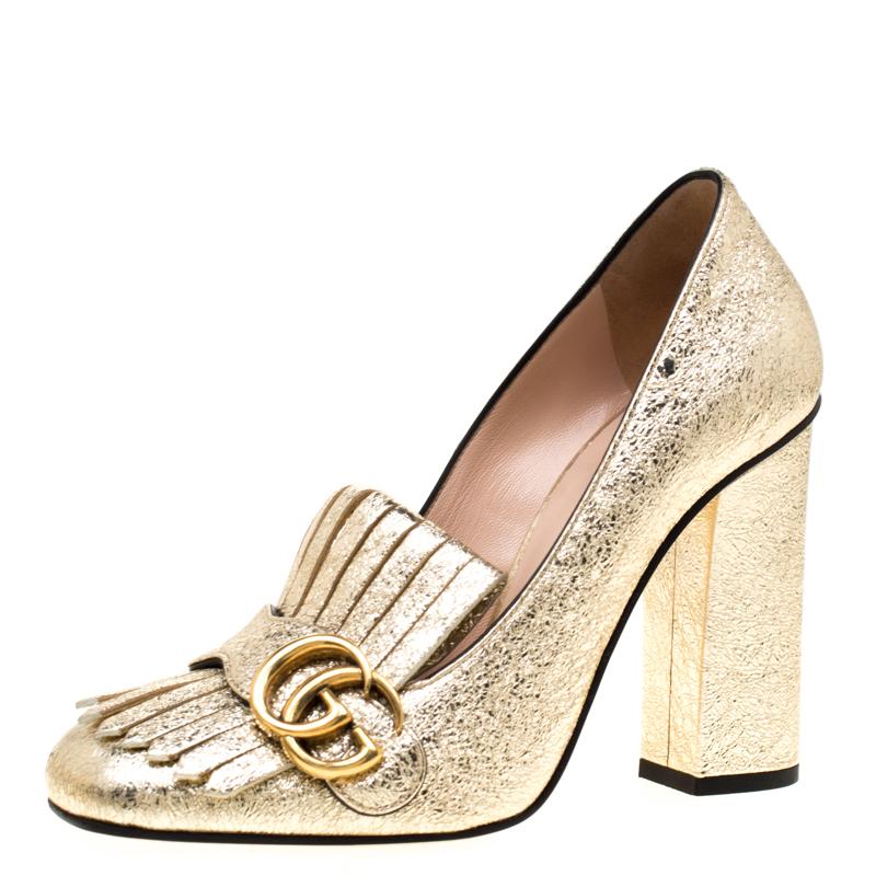 7289b7ffa ... Gucci Metallic Gold Foil Leather GG Marmont Fringe Detail Block Heel  Pumps Size 38. nextprev. prevnext