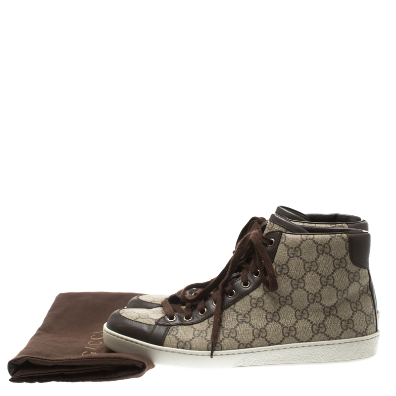info for 8cc47 1f078 Gucci Beige GG Supreme Canvas And Brown Leather Trim High Top Sneaker Size  43