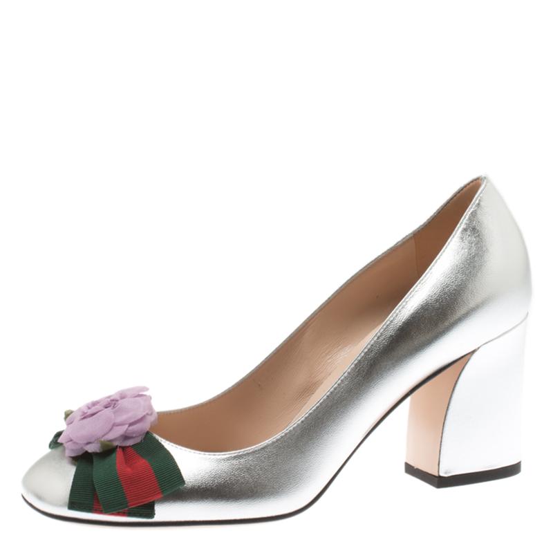 61336db52 Buy Gucci Metallic Silver Leather Web Bow Rose Detail Block Heel ...
