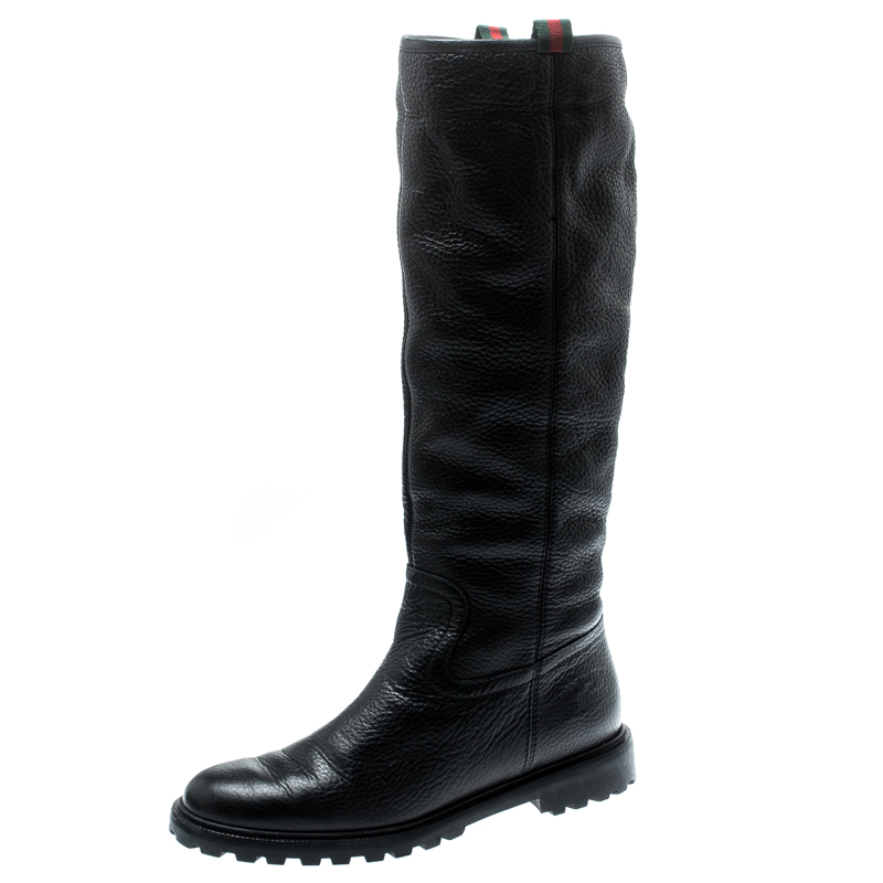 75a867ab32e03 Gucci Black Leather Riding Web Detail Knee Boots Size 38