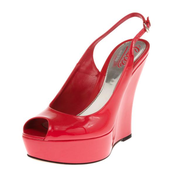 d47802630 ... Gucci Coral Patent  Sofia  Platform Slingback Wedges Sandals Size 37.5.  nextprev. prevnext