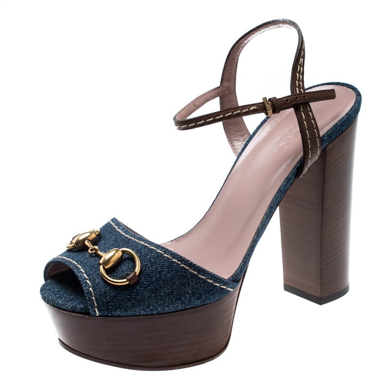 e399f970a ... Gucci Blue Denim And Brown Leather Lifford Horsebit Ankle Strap Block  Heel Sandals Size 37.5. nextprev. prevnext