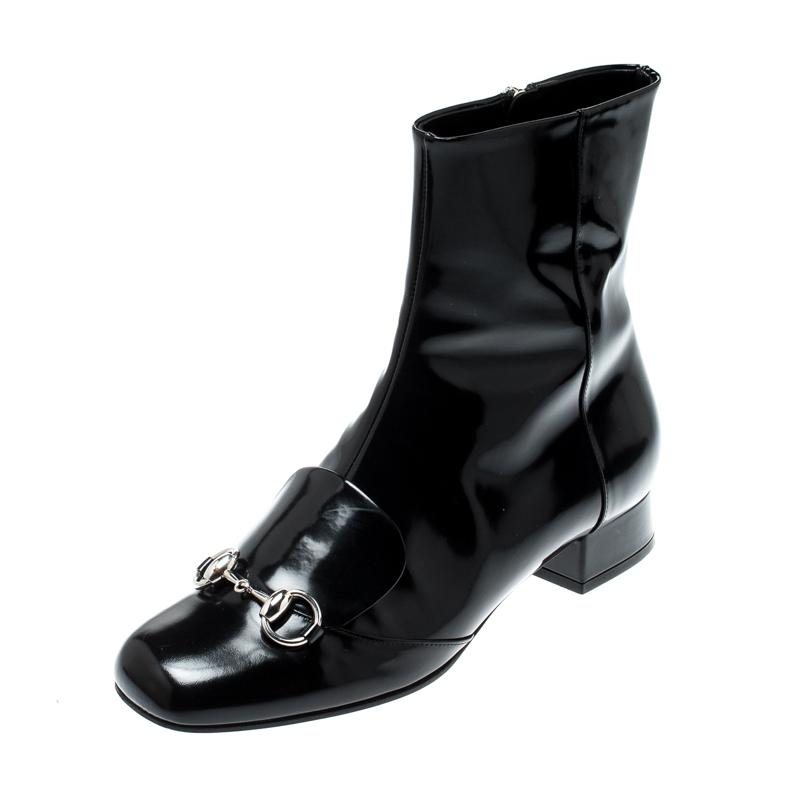94147892d0c5d Gucci Black Patent Leather Horsebit Ankle Boots Size 38