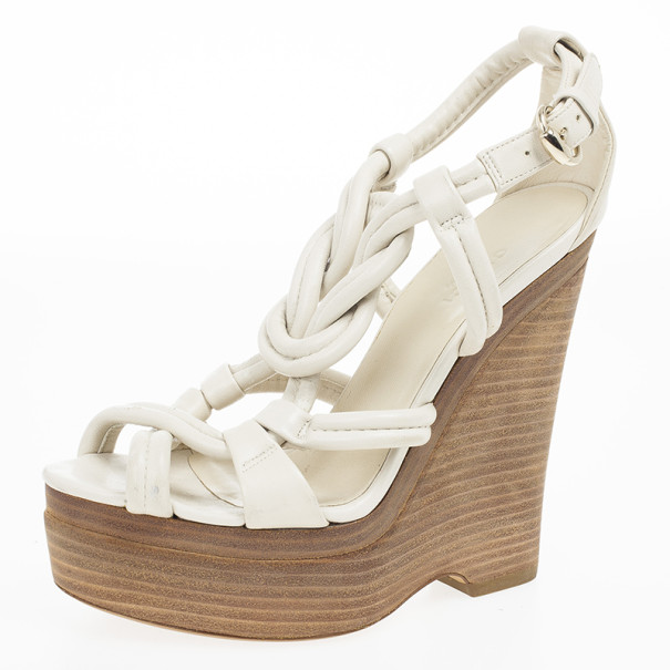 1841c845159 Buy Gucci Off White Leather Kotao Wedge Sandals Size 36 20559 at best price