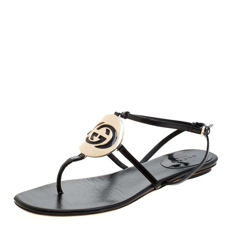 ad1d3ddb52fd4 ... Gucci Black Patent Leather Logo Buckle Flat Thong Sandals Size 36.  nextprev. prevnext
