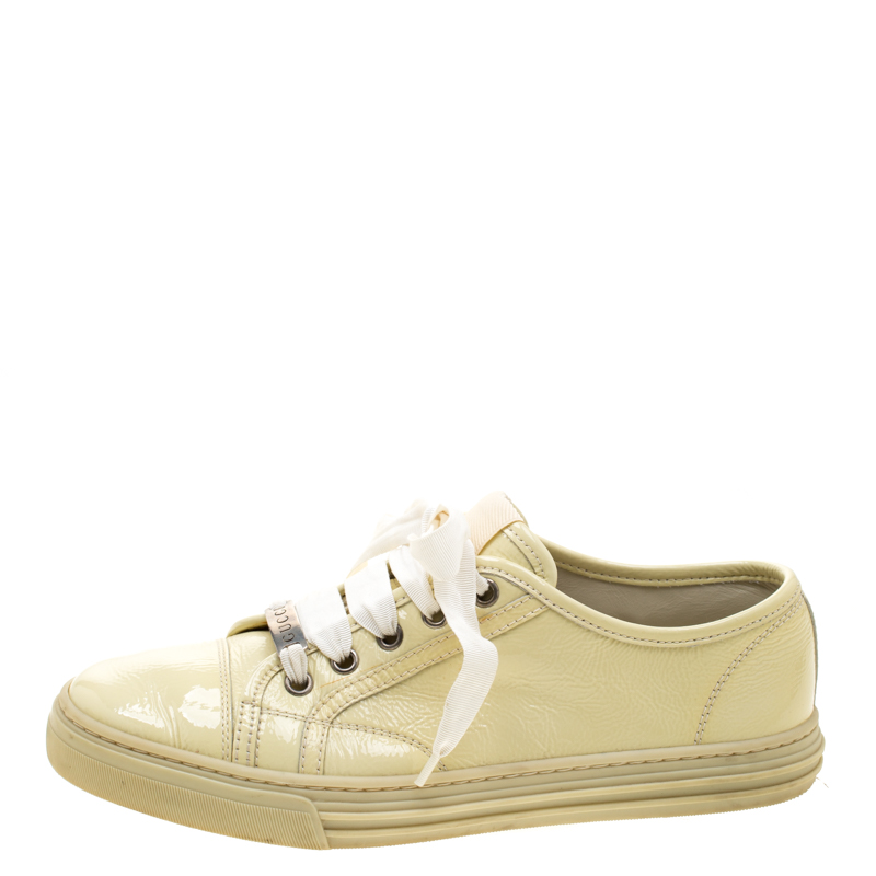 sells classic factory outlet Gucci Yellow Patent Leather Lace Up Sneakers Size 37