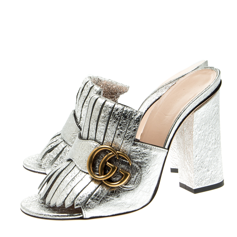 Gucci Silver Metallic Leather Marmont