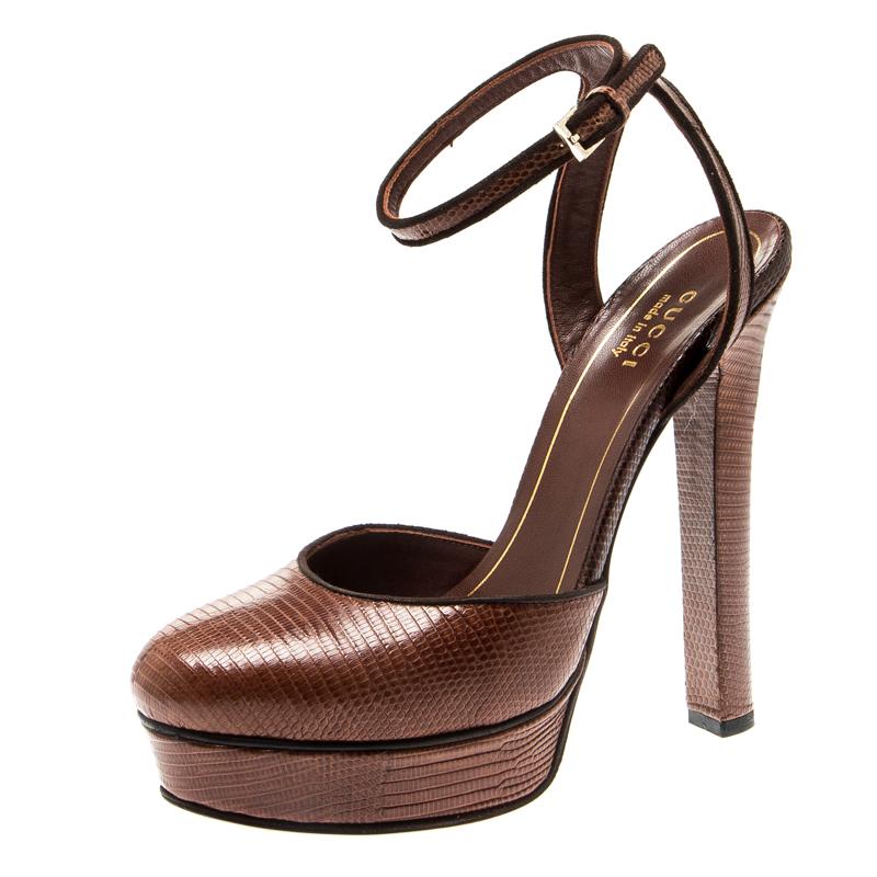 Gucci Brown Lizard Leather Platform Ankle Strap Sandals Size 36.5