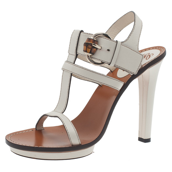 f3b3ae78a Buy Gucci White Leather Bamboo Buckle Gwen T Strap Sandals Size 40 2235 at  best price