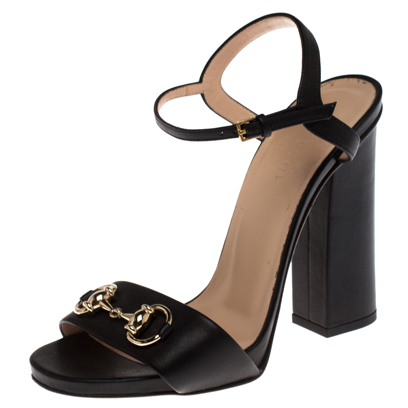 Gucci Black Leather Horsebit Ankle