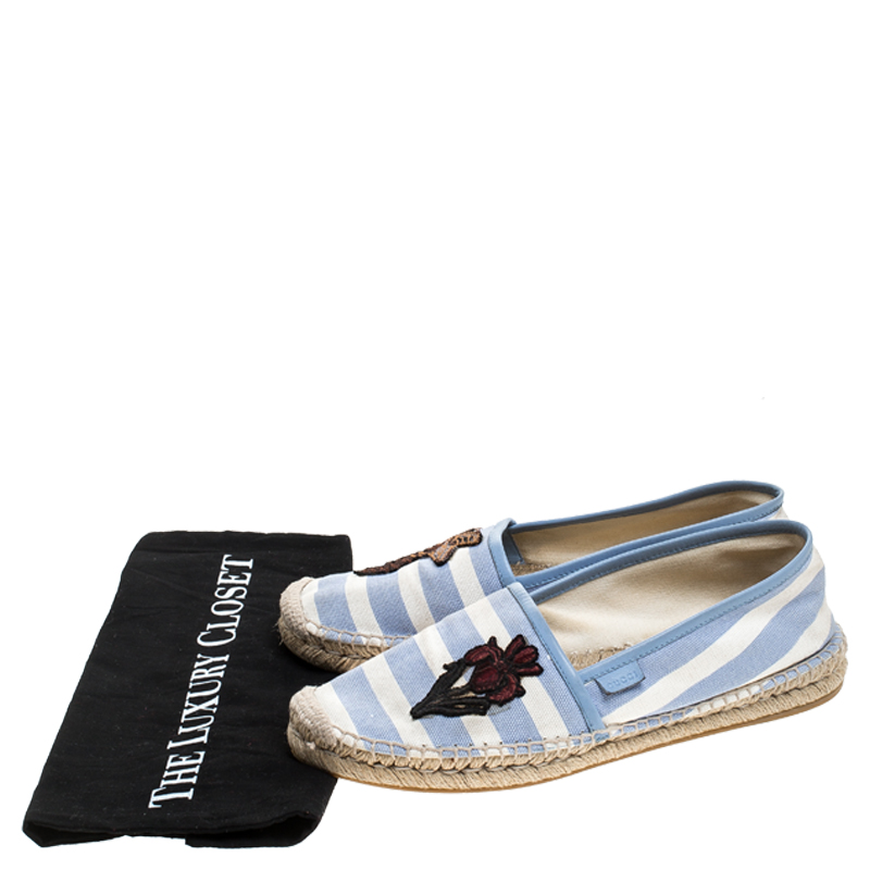 Gucci Blue/White Striped Canvas Embroidered Espadrille Flats Size 40