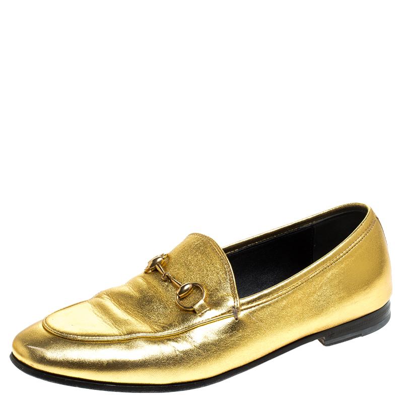 Gucci Gold Leather Jordaan Horsebit
