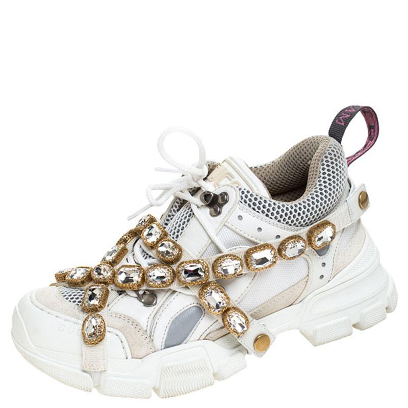 Gucci White Leather and Mesh Flashtrek