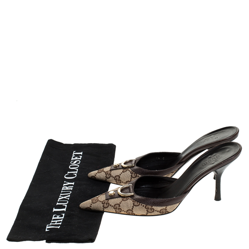 Gucci Beige GG Canvas Slip On Sandals Size 36