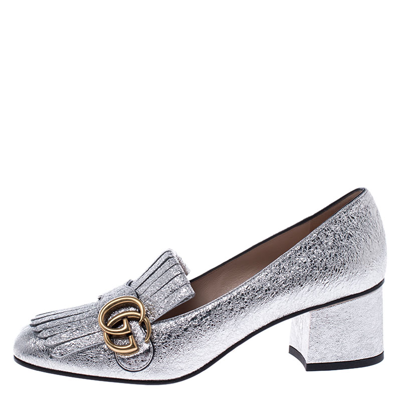 Gucci Metallic Silver Foil Leather GG Marmont Fringe Detail Block Heel Pumps Size