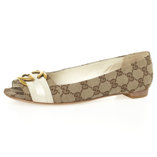 9be34686c1ca8 Buy Gucci Guccissima Canvas  Interlocking  Peep Toe Ballet Flats Size 38  24790 at best price