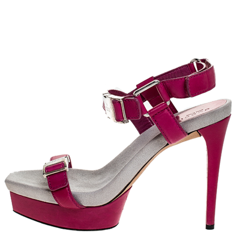 Gucci Pink Leather Side Release Buckle Detail Open Toe Platform Ankle Strap Sandals Size, Black