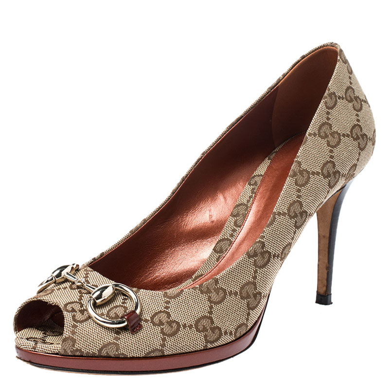Gucci Brown Guccissima Canvas New Hollywood Horsebit Peep Toe Pumps Size 39.5