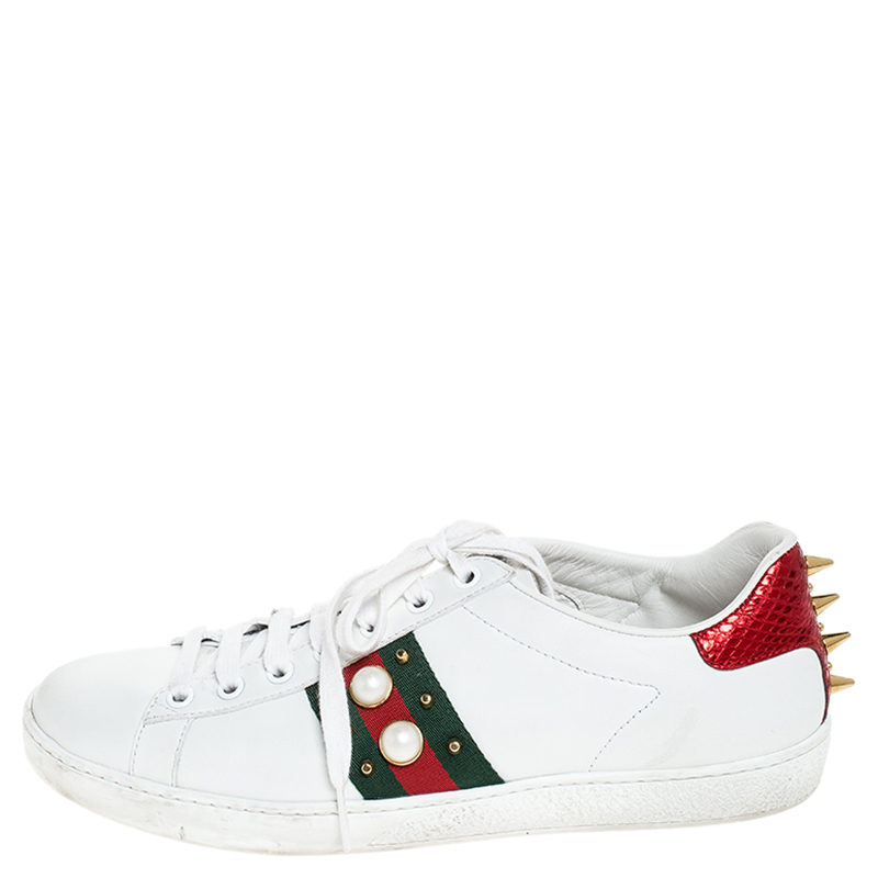 Gucci White Leather Python Trim Web Detail New Ace Faux Pearl Embellished Low Top Sneakers Size