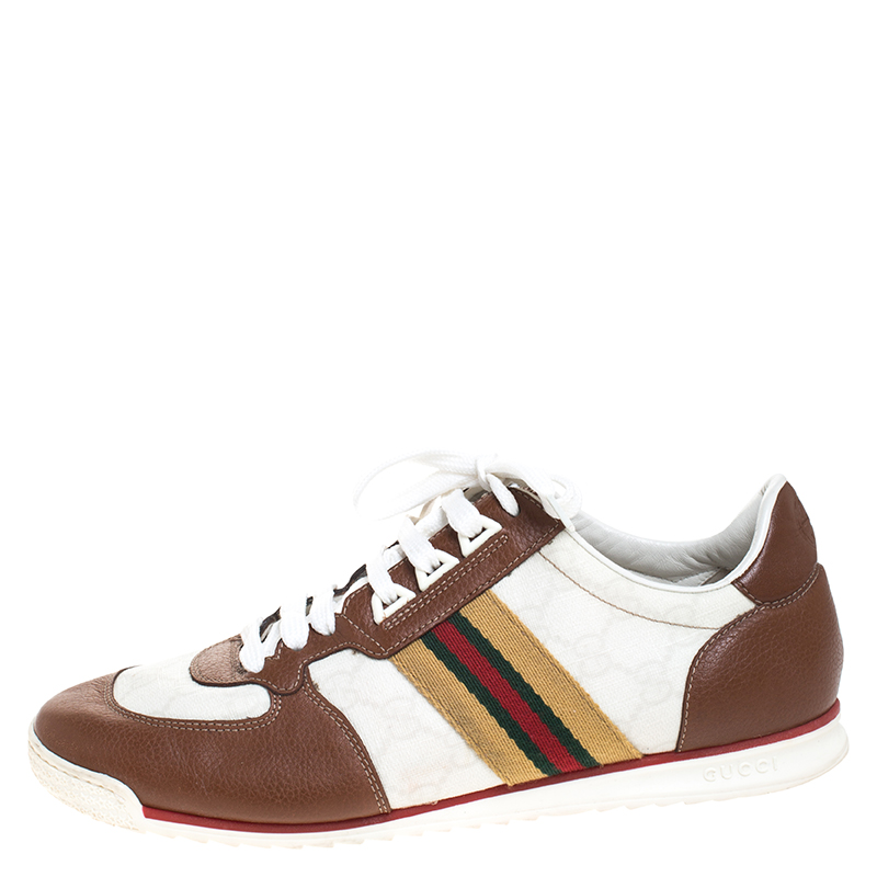Gucci White Guccissima Canvas And Tan Leather Web Detail Sneakers Size, Multicolor