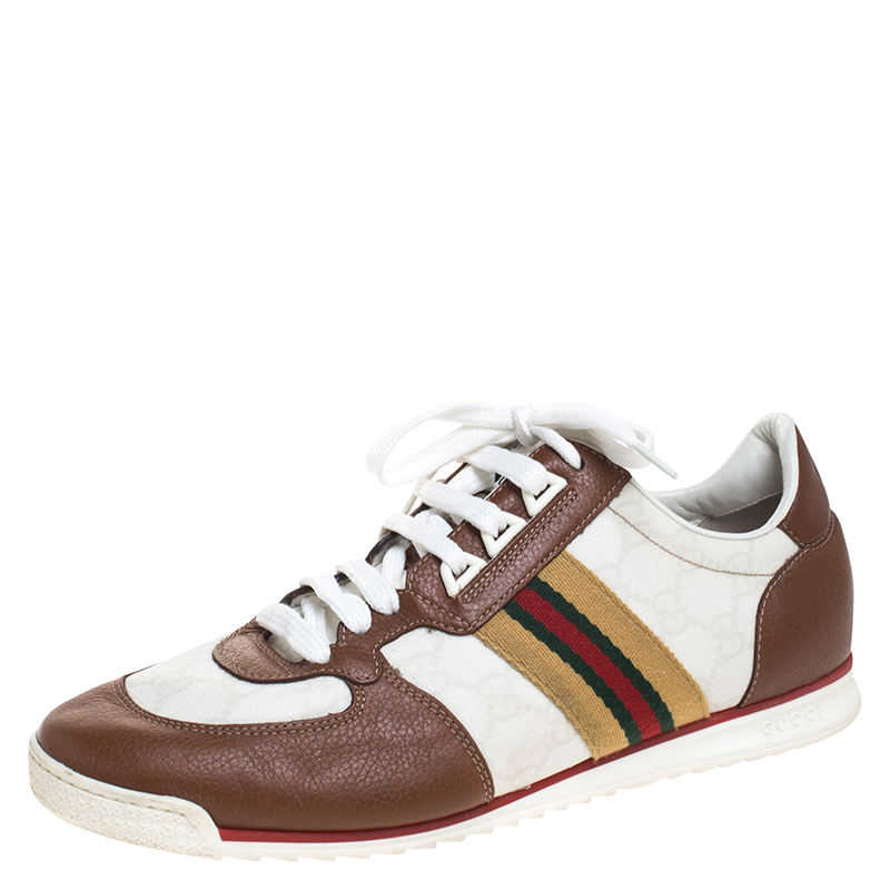 Gucci White Guccissima Canvas And Tan Leather Web Detail Sneakers Size 40.5