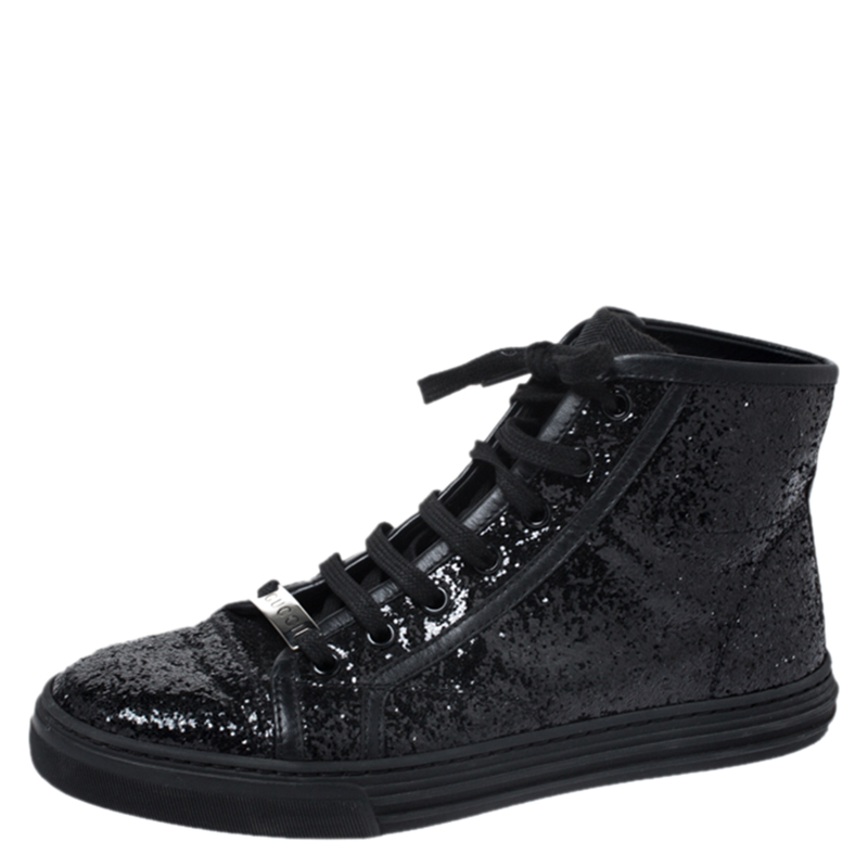 Gucci Black Glitter Fabric And Leather