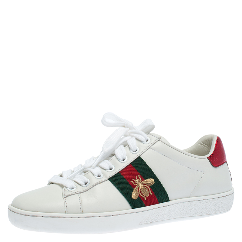 Gucci White Leather Ace Embroidered Bee