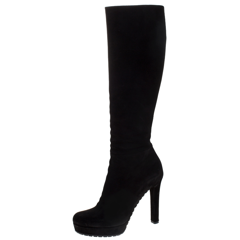 Gucci Black Suede Platform Knee High Boots Size 37.5