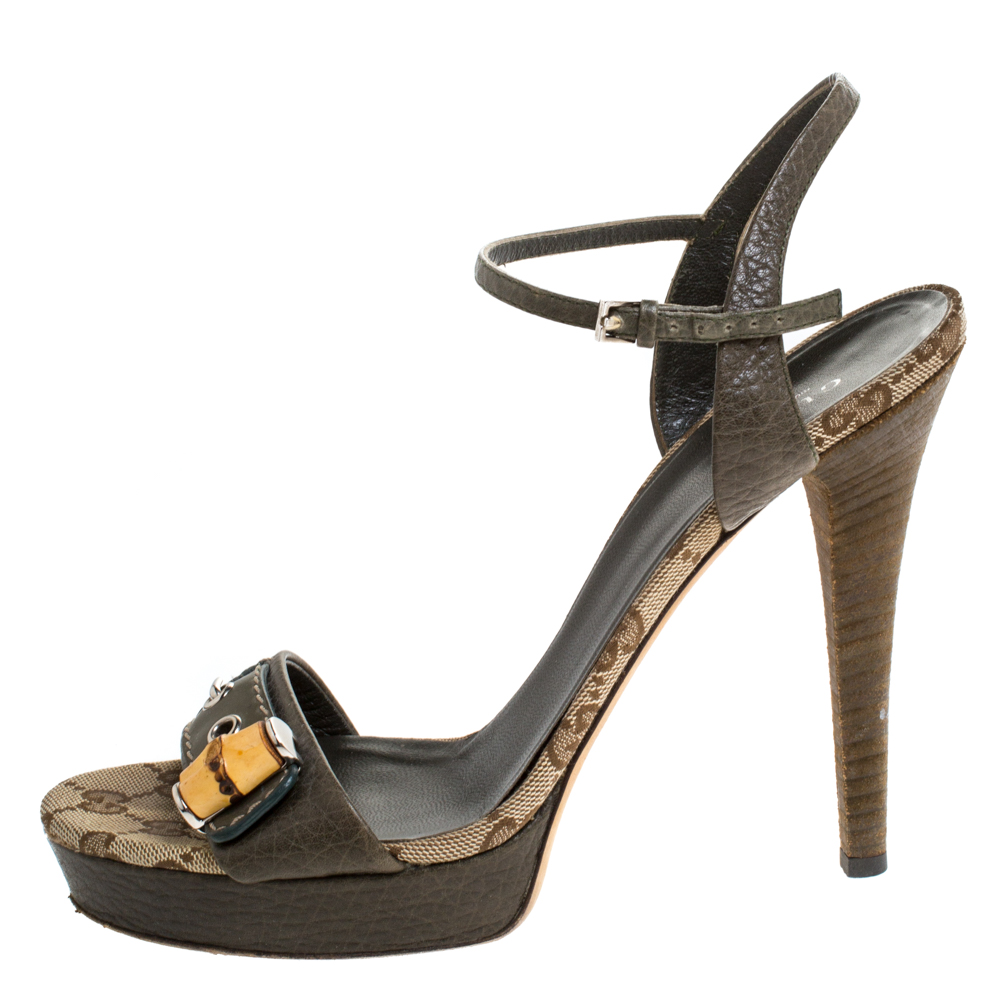 Gucci Green/Beige GG Canvas and Leather Bamboo Platform Sandals Size 39