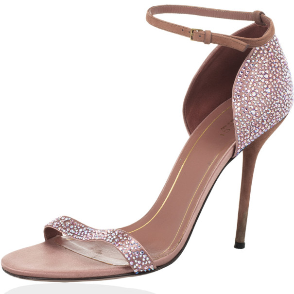 Buy Gucci Pink Suede Noah Crystal Studded Ankle Strap Sandals Size ...