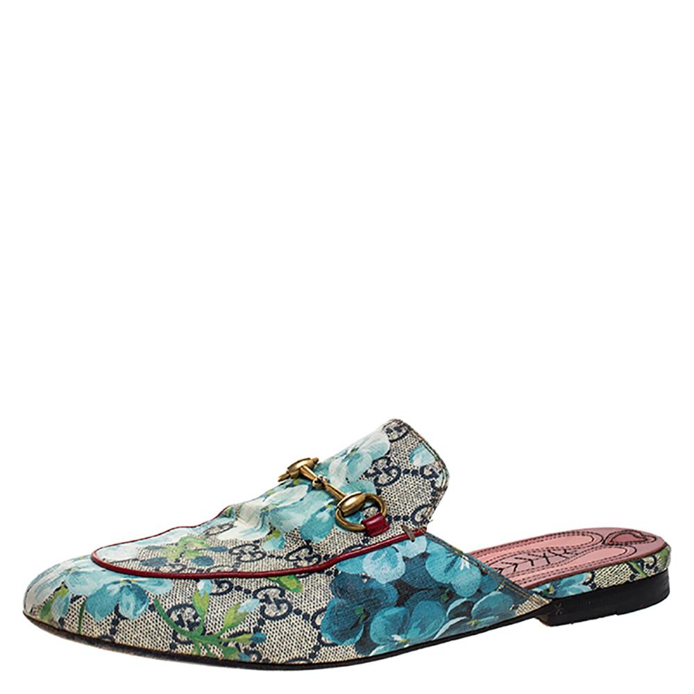 Gucci Blue/Beige GG Supreme Blooms Canvas Princetown Horsebit Mules Size 38.5