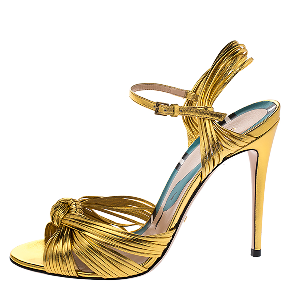 Gucci Metallic Gold Leather Strappy Allie Knot Sandals Size