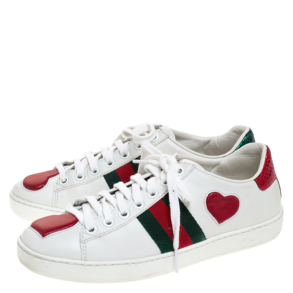 Gucci White Leather Ace Web Heart