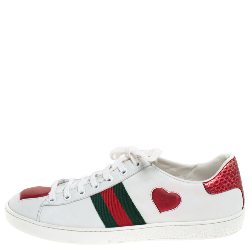 Gucci White Leather Ace Web Heart Detail Lace Up Sneaker Size