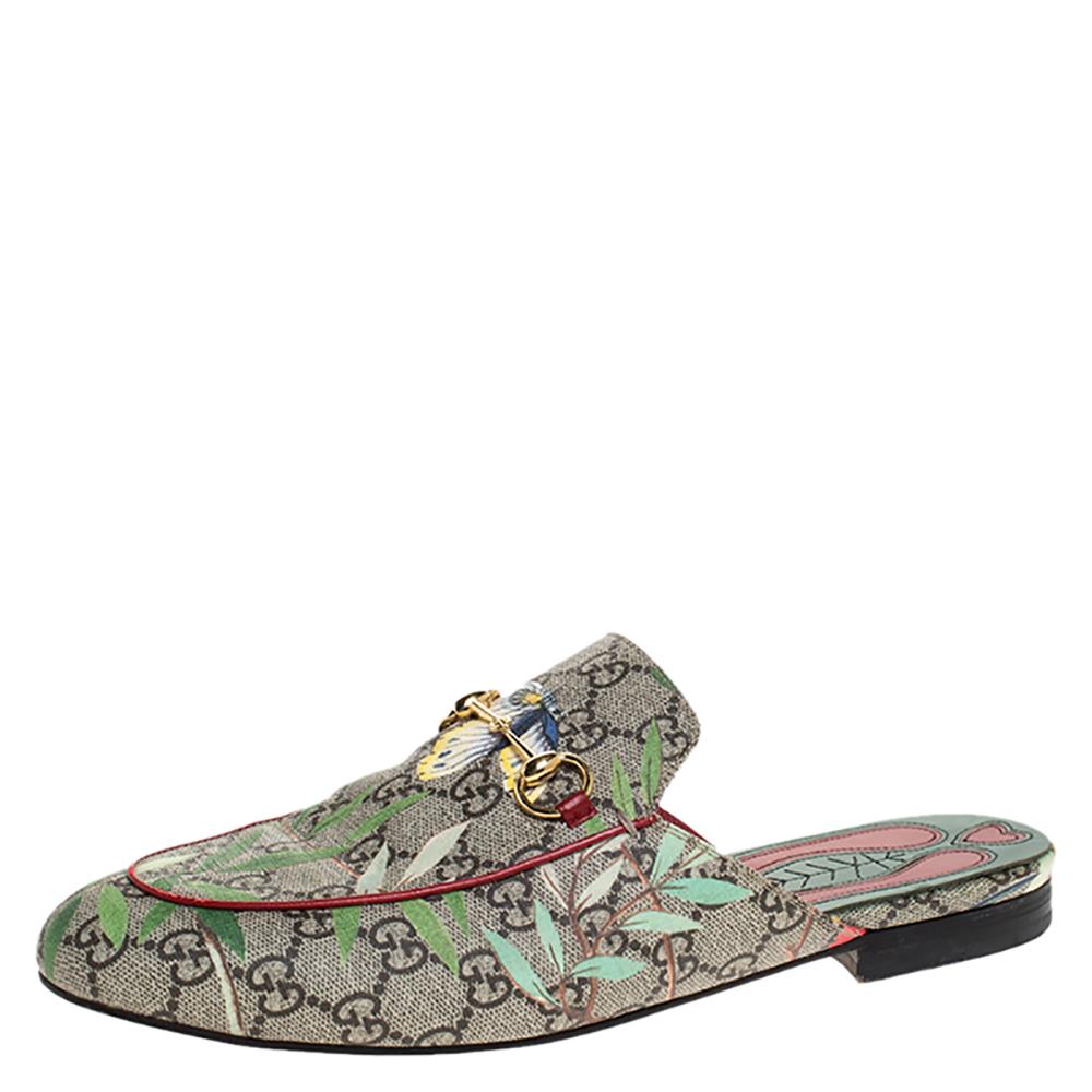 Gucci Beige Printed Canvas Tian Horsebit Loafer Slides Size 41