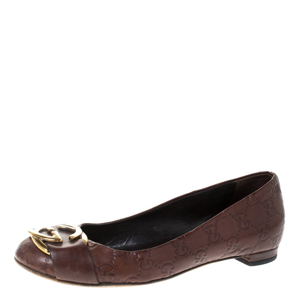 Gucci Brown Guccissima Leather Interlocking GG Ballet Flats Size 36