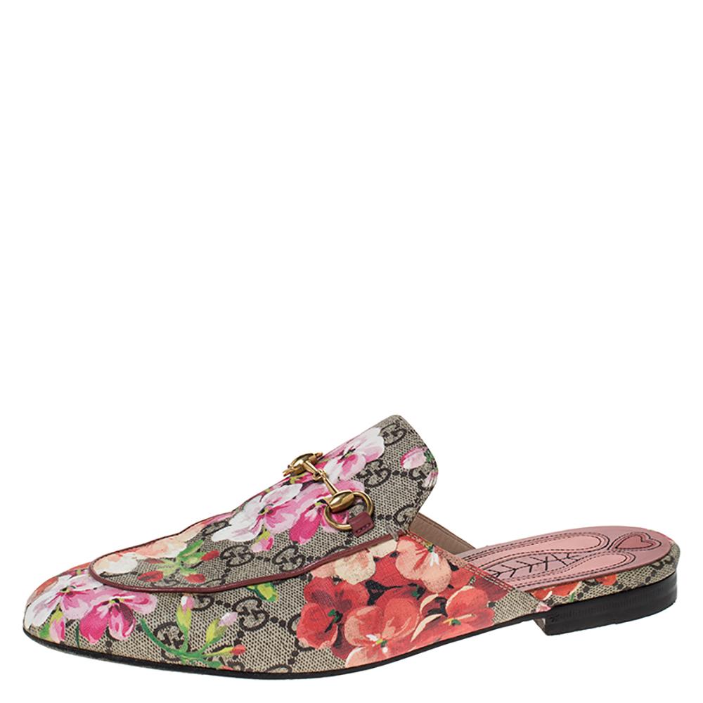 Gucci Multicolor GG Floral Print Canvas Princetown Horsebit Mules Size 39.5