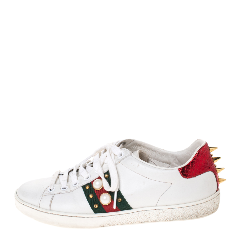 Gucci White Leather Ace Web Embellished Low Top Sneakers Size