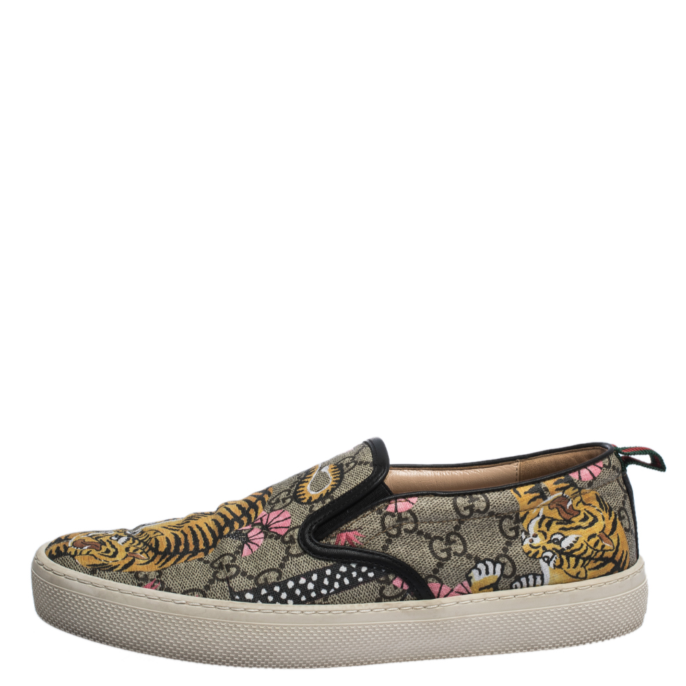 Gucci Multicolor GG Supreme Canvas Tiger Print Slip On Sneakers Size